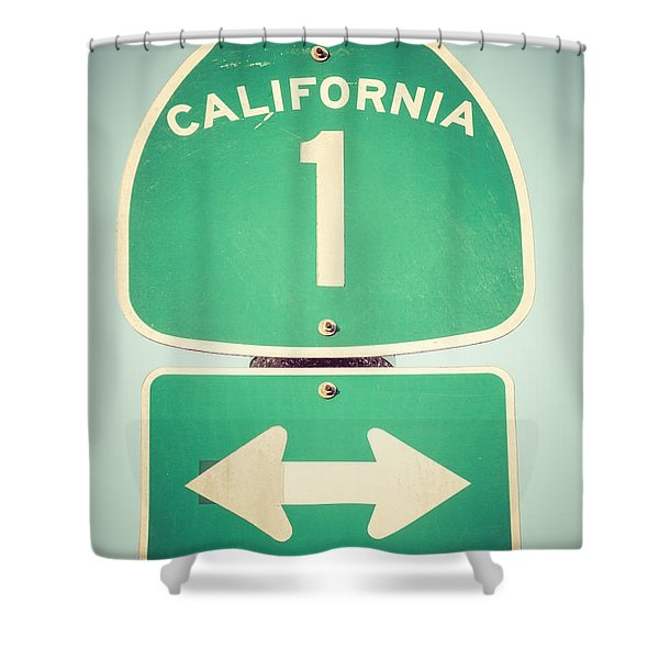 Pacific Coast Highway Sign California State Route 1 Shower Curtain by Paul Velgos
