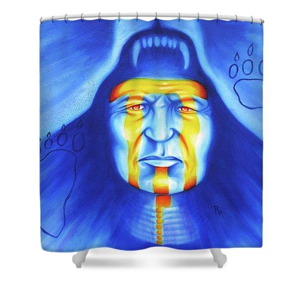 Painted Bear Shower Curtain by Robert Martinez