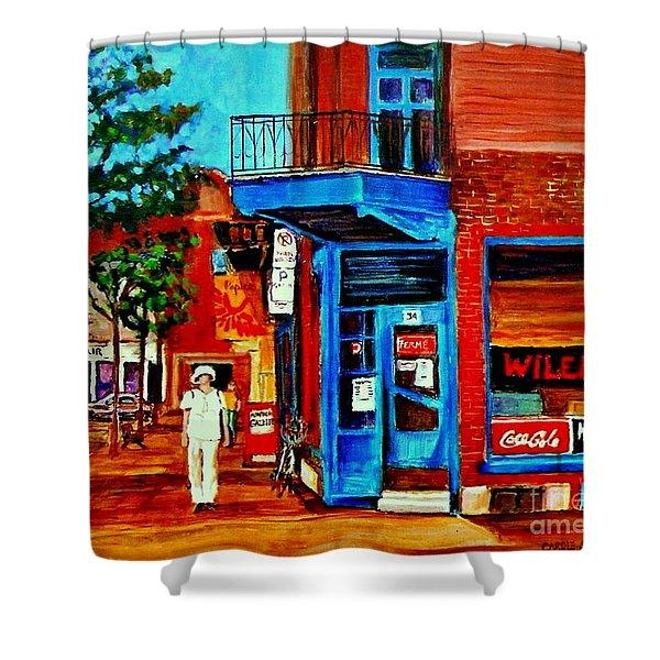 Paintings Of Montreal Memories Moe Wilenskys Famous Corner Deli  Montreal Spring City Scene Shower Curtain by Carole Spandau