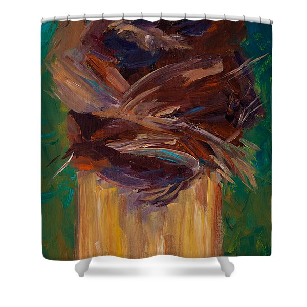 Palm Bark Shower Curtain by Paulette B Wright