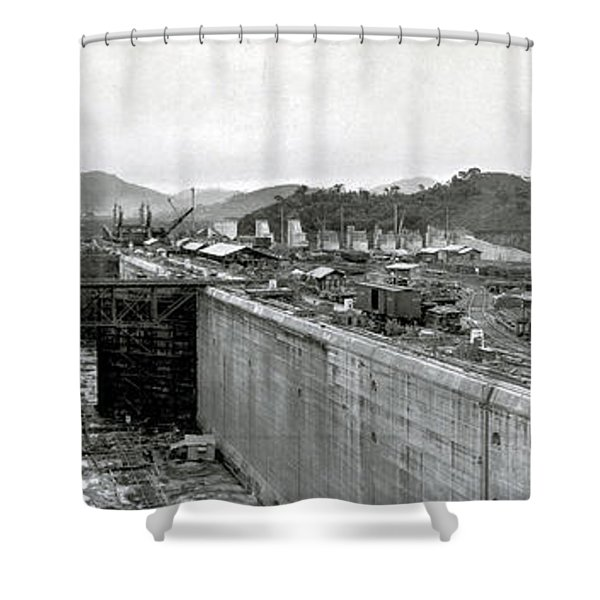 Panama Canal Construction 1910 Shower Curtain by Photo Researchers