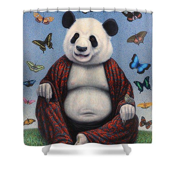 Panda Buddha Shower Curtain by James W Johnson