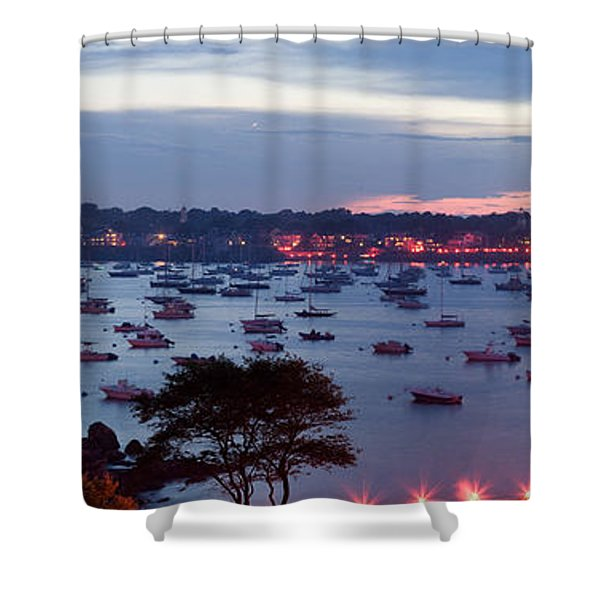 Panoramic of the Marblehead Illumination Shower Curtain by Jeff Folger