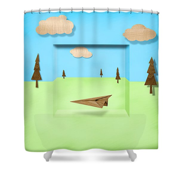 Paper Airplanes of Wood 11 Shower Curtain by Yo Pedro