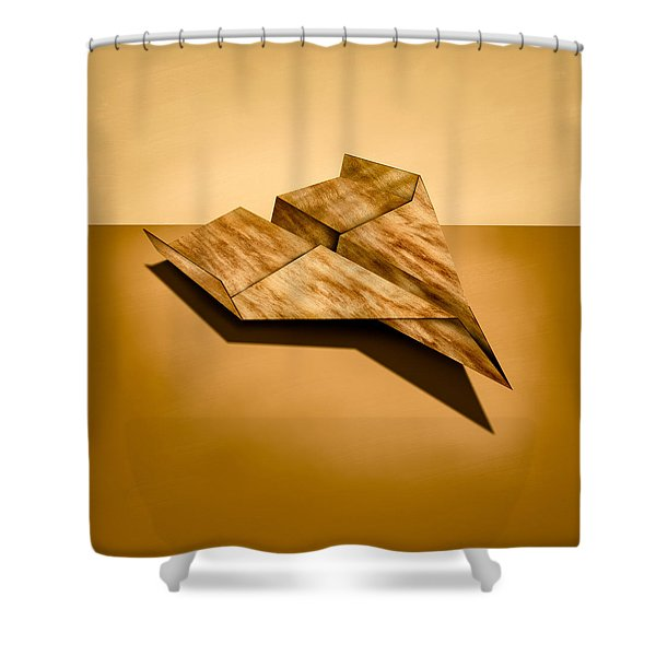 Paper Airplanes of Wood 5 Shower Curtain by Yo Pedro