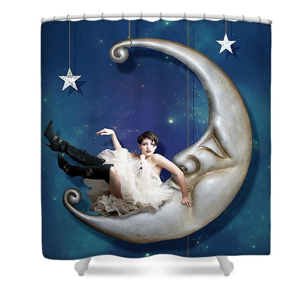 Paper Moon Shower Curtain by Linda Lees