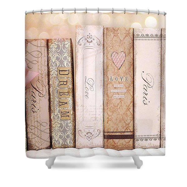 Paris Dreamy Shabby Chic Romantic Pink Cottage Books Love Dreams Paris Collection Pastel Books Shower Curtain by Kathy Fornal
