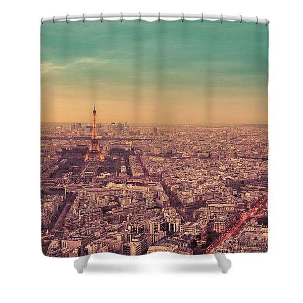 Paris - Eiffel Tower And Cityscape At Sunset Shower Curtain by Vivienne Gucwa