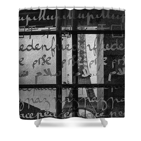 Paris Peace Wall Shower Curtain by Nomad Art And  Design