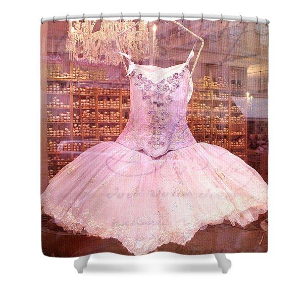 Paris Pink Ballerina Tutu - Paris Repetto Ballet Shop - Paris Ballerina Dress Tutu - Repetto Ballet Shower Curtain by Kathy Fornal
