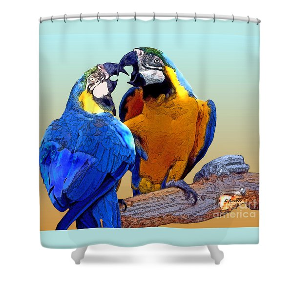 Parrot Passion 2 Shower Curtain by Linda  Parker