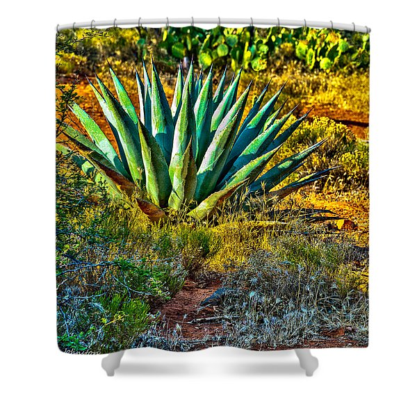 Parry's Agave Sometimes Called Century Plant Shower Curtain by Bob and Nadine Johnston