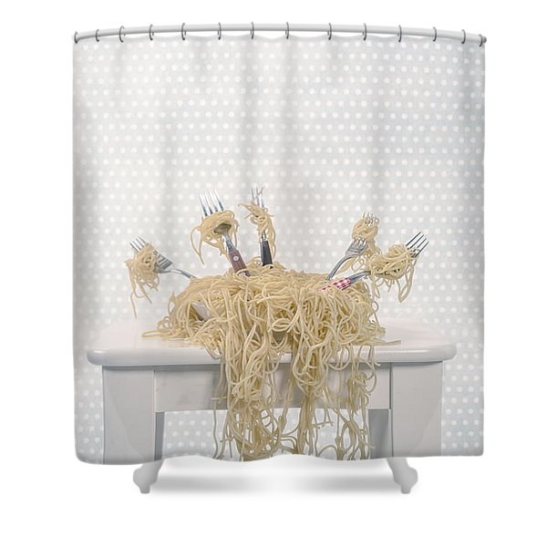 pasta for five Shower Curtain by Joana Kruse