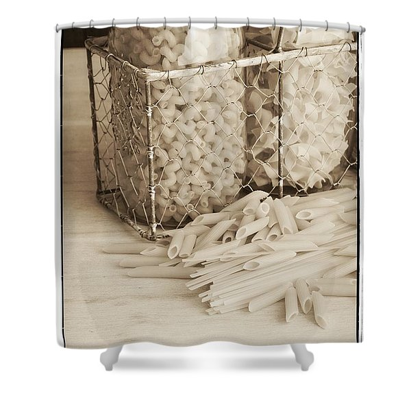 Pasta Sepia Toned Shower Curtain by Edward Fielding
