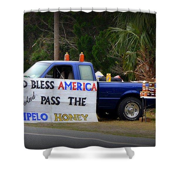 Patriotic Honey Salesman Shower Curtain by Carla Parris