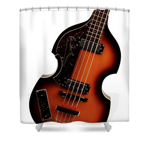 Paul McCartney Hofner Bass  Shower Curtain by Bill Cannon