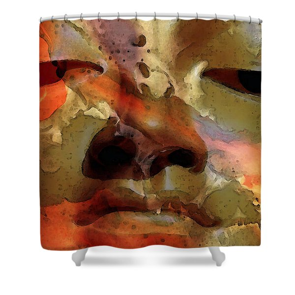 Peace Buddha - Spiritual Art Shower Curtain by Sharon Cummings