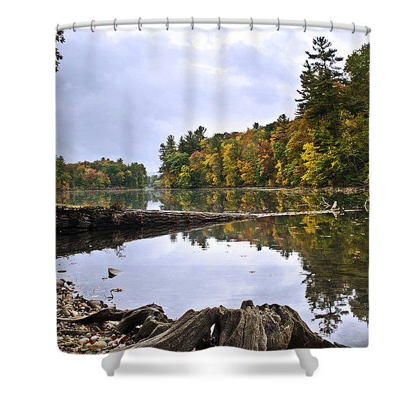 Peaceful Autumn Lake Shower Curtain by Christina Rollo