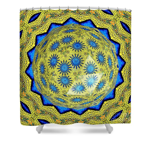 Peacock Feathers Under Polyhedron Glass 3 Shower Curtain by Rose Santuci-Sofranko