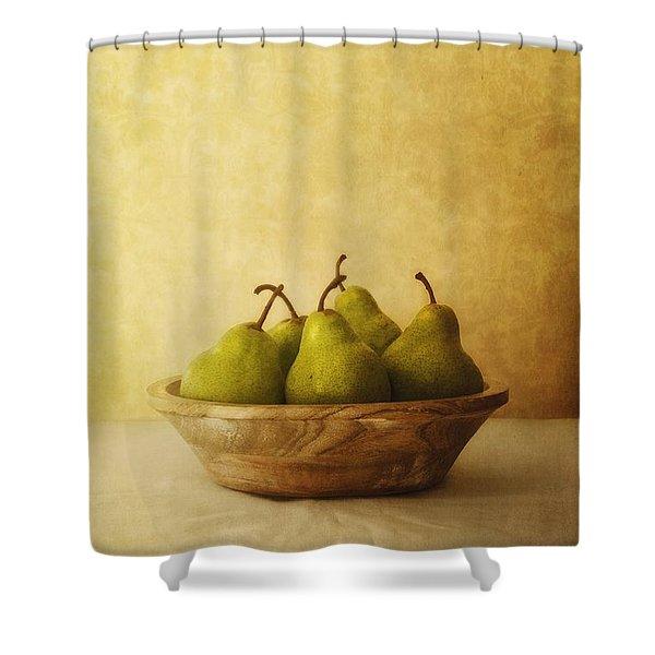 Pears In A Wooden Bowl Shower Curtain by Priska Wettstein
