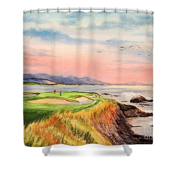 Pebble Beach Golf course Hole 7 Shower Curtain by Bill Holkham