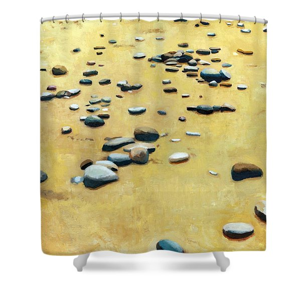 Pebbles on the Beach - Oil Shower Curtain by Michelle Calkins