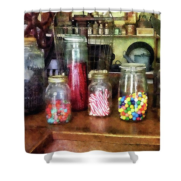 Penny Candies Shower Curtain by Susan Savad