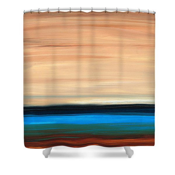 Perfect Calm - Abstract Earth Tone Landscape Blue Shower Curtain by Sharon Cummings