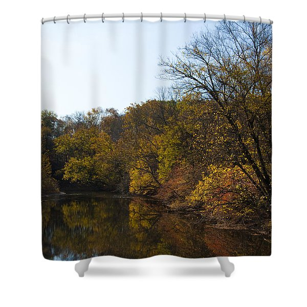 Perkiomen Creek in Autumn Shower Curtain by Bill Cannon