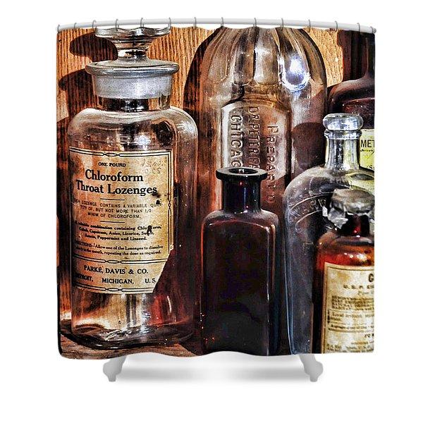 Pharmacy - Chloroform Throat Lozenges Shower Curtain by Paul Ward