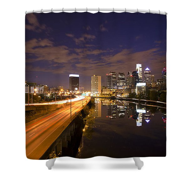 Philadelphia Cityscape from South Street at Night Shower Curtain by Bill Cannon