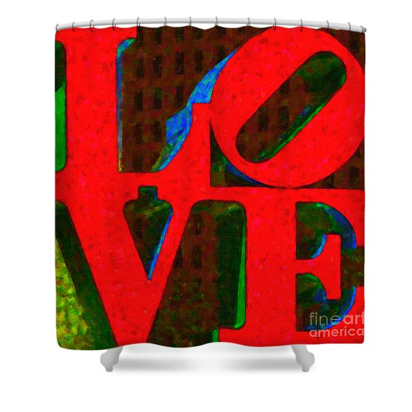 Philadelphia LOVE - Painterly v1 Shower Curtain by Wingsdomain Art and Photography