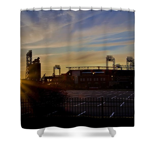 Phillies Citizens Bank Park at Dawn Shower Curtain by Bill Cannon