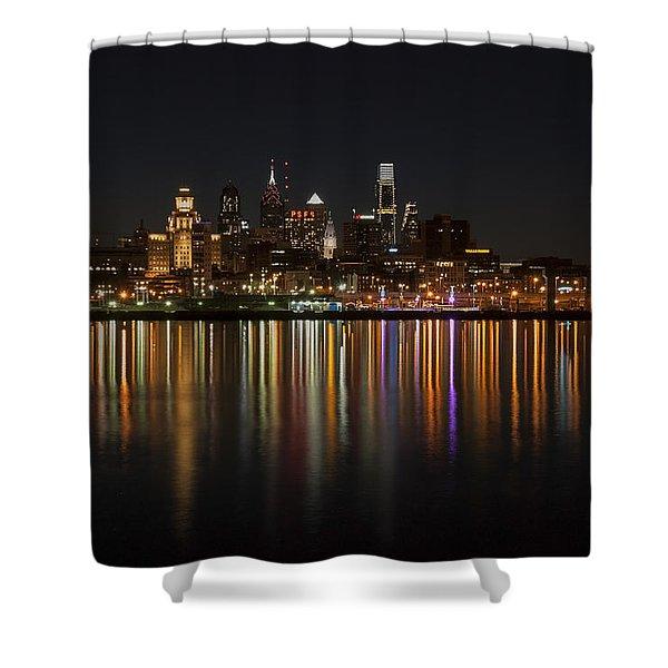 Philly Night Shower Curtain by Jennifer Lyon