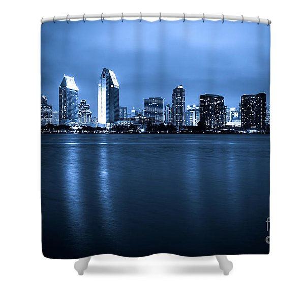 Photo of San Diego at Night Skyline Buildings Shower Curtain by Paul Velgos
