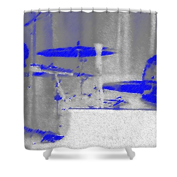 Piano Player in Pastel Blue Shower Curtain by George Pedro