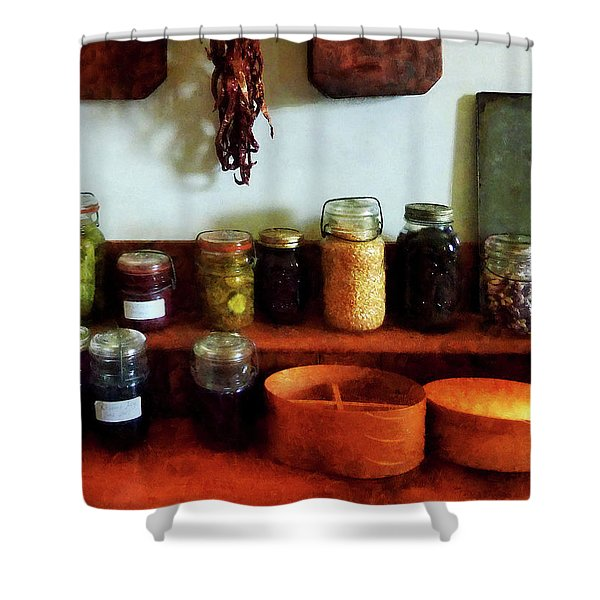 Pickles Beans And Jellies Shower Curtain by Susan Savad