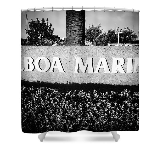 Pictue of Balboa Marina Sign in Newport Beach Shower Curtain by Paul Velgos