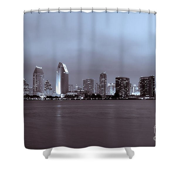 Picture of San Diego Skyline at Night Shower Curtain by Paul Velgos