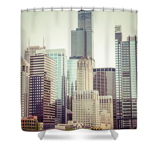 Picture Of Vintage Chicago With Sears Willis Tower Shower Curtain by Paul Velgos