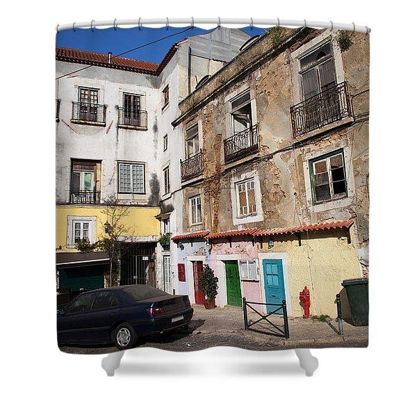 Picturesque Houses In Lisbon Shower Curtain by Artur Bogacki