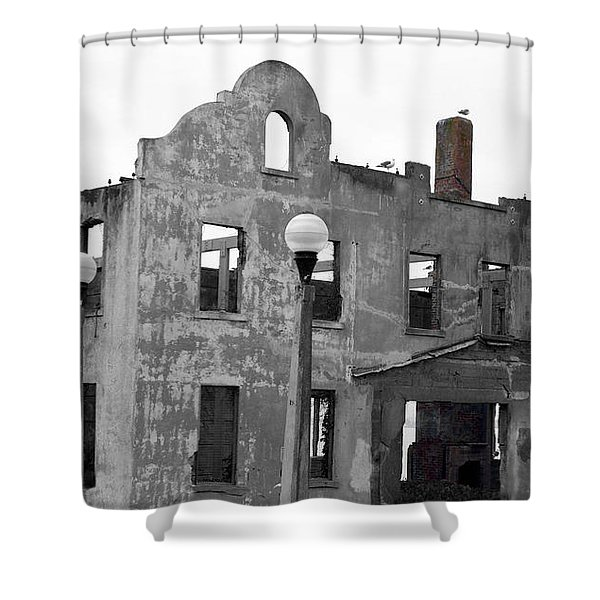 Pieces of Alcatraz Island Shower Curtain by Cheryl Young