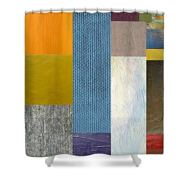 Pieces Parts Ll Shower Curtain by Michelle Calkins