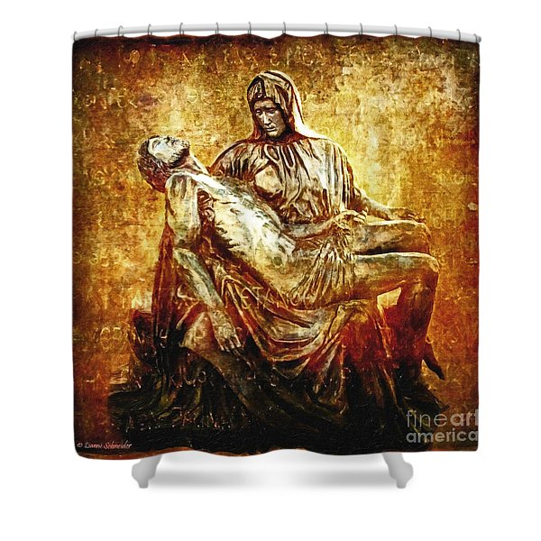 Pieta Via Dolorosa 13 Shower Curtain by Lianne Schneider