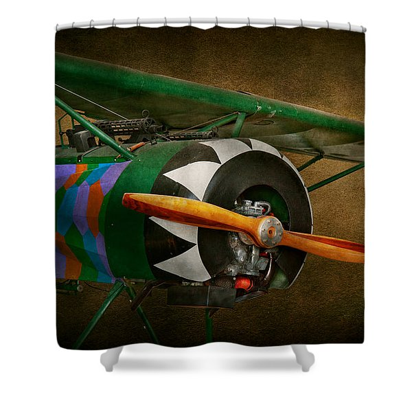 Pilot - Plane - German Ww1 Fighter - Fokker D Viii Shower Curtain by Mike Savad