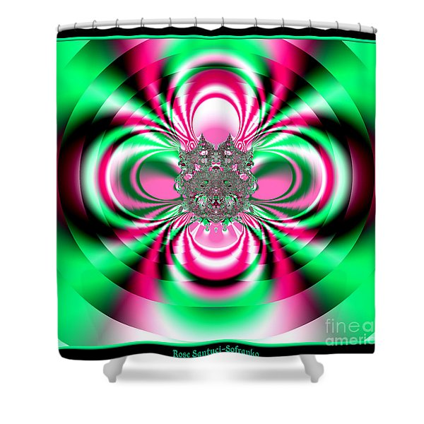 Pink And Green Rotating Flower Fractal 74 Shower Curtain by Rose Santuci-Sofranko