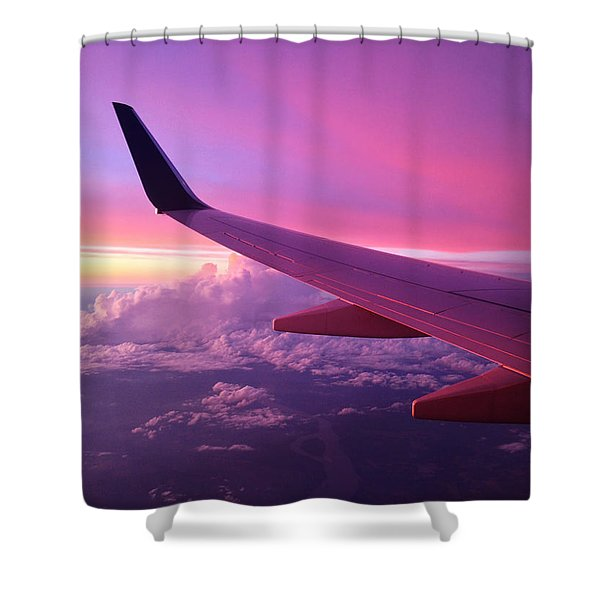 Pink Flight Shower Curtain by Chad Dutson