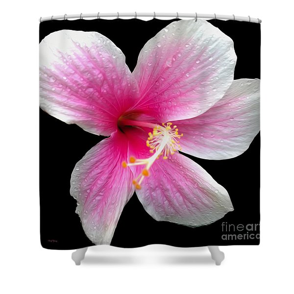 Pink Hibiscus In The Rain Painted Shower Curtain by Cheryl Young