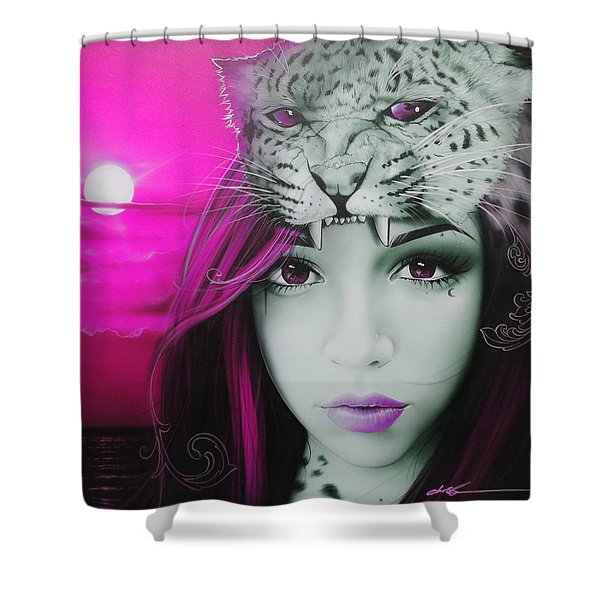 'Pink Moon' Shower Curtain by Christian Chapman Art