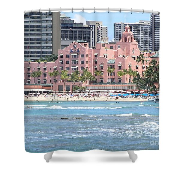 Pink Palace On Waikiki Beach Shower Curtain by Mary Deal